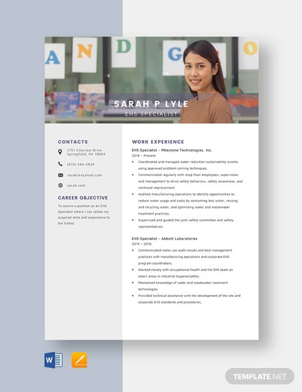 EHS Specialist Resume Template