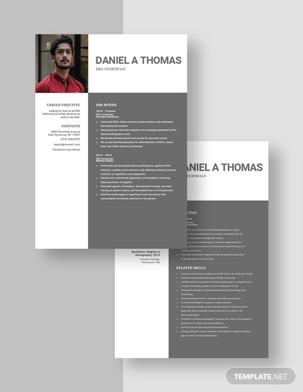 EKG Technician Resume Template [Free Pages] - Word, Apple Pages