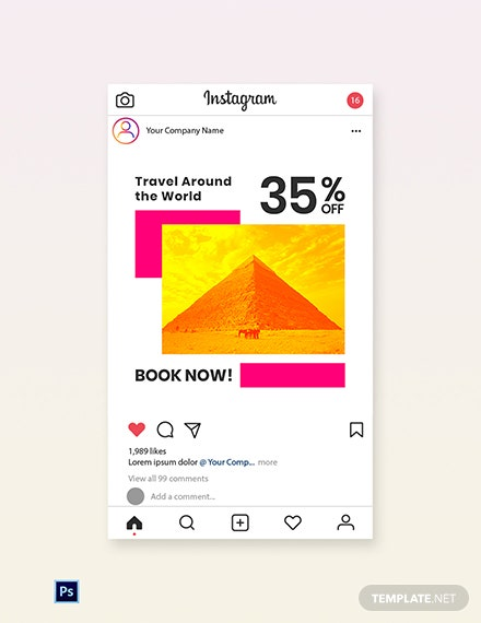 Free World Travel Instagram Post Template