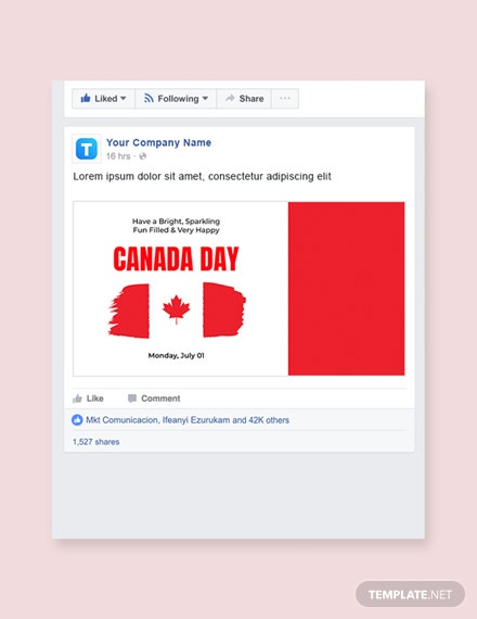 Free Canada Day Facebook Post Template