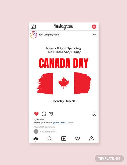 Free Canada Day Instagram Post Template