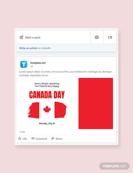 Free Canada Day Linkedin Post Template