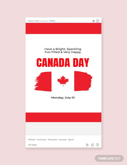 Free Canada Day Tumblr Post Template
