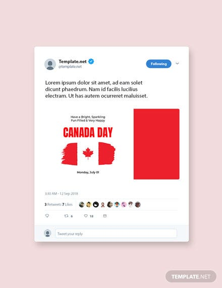 Free Canada Day Twitter Post Template
