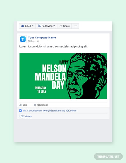 Free Nelson Mandela Day Facebook Post Template