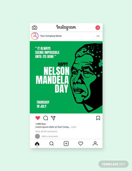 Free Nelson Mandela Day Instagram Post Template