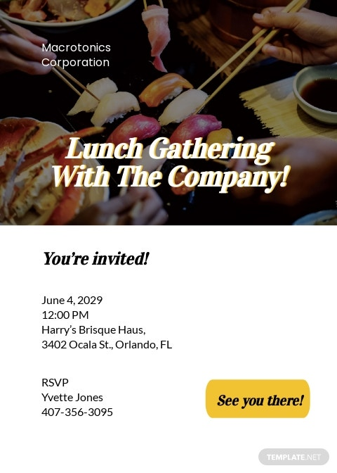 Email Lunch Invitation Template