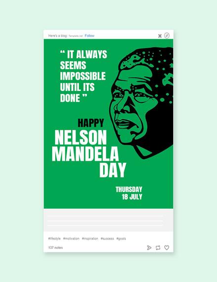 Free Nelson Mandela Day Tumblr Post Template