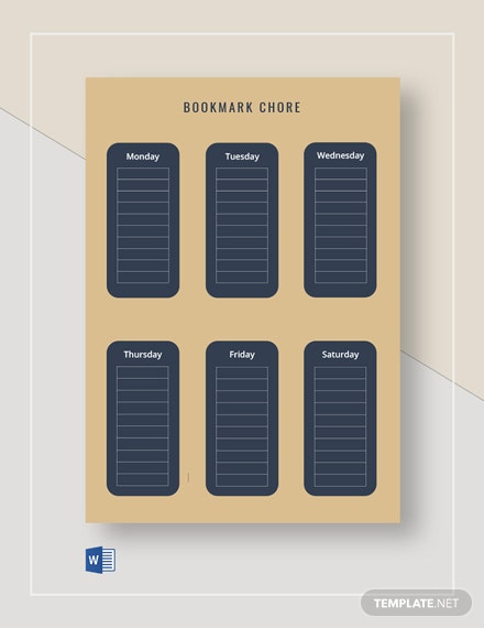 Weekly Bookmark Chore Chart Template