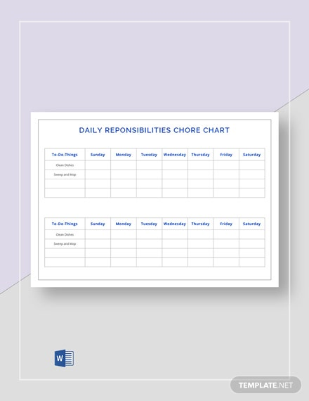 daily responsibilities chore chart