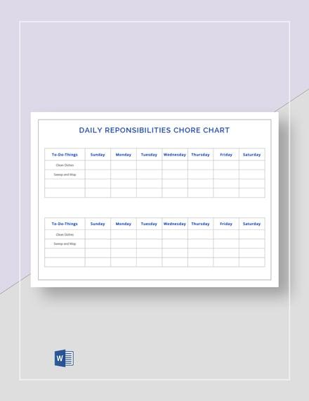 Daily Responsibilities Chore Chart Template