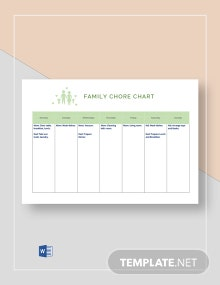 Weekly Chore Chart for Family Template