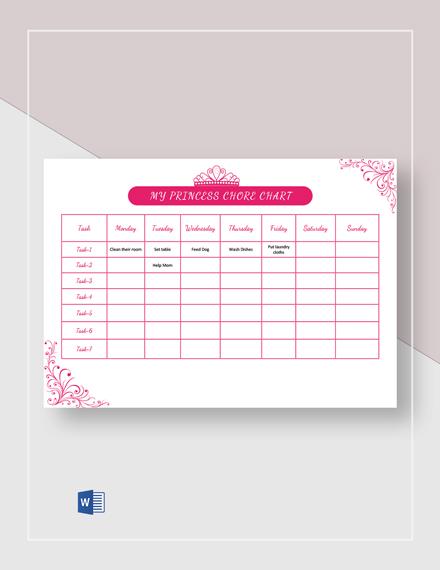 My Princess Chore Chart Template