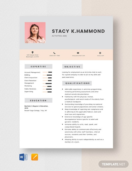 Activities Aide Resume Template