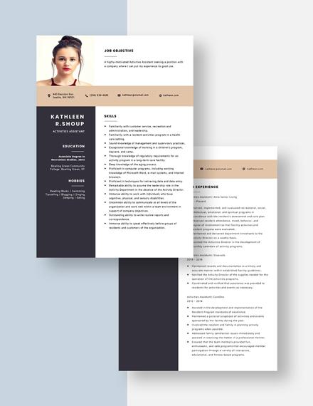 Activities Assistant Resume Download