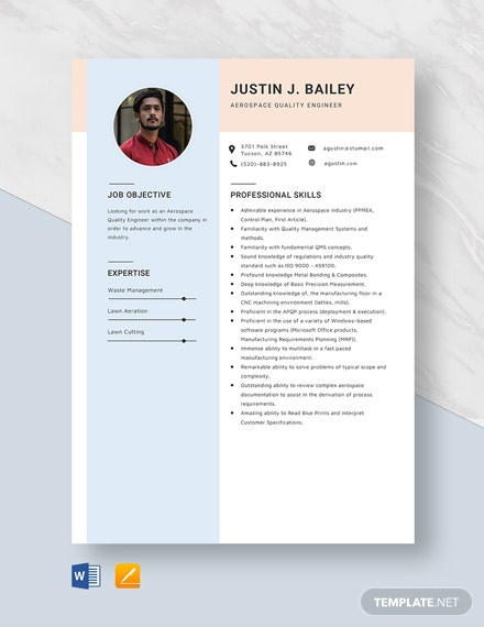 Aerospace Quality Engineer Resume Template