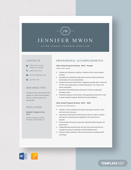 After School Program Director Resume Template