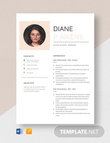After School Worker Resume Template