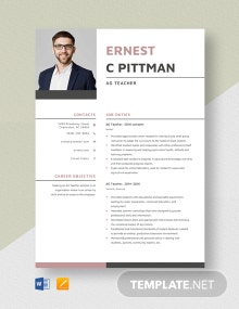AG Teacher Resume Template
