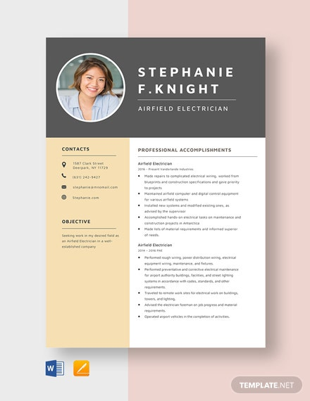 Airfield Electrician Resume Template