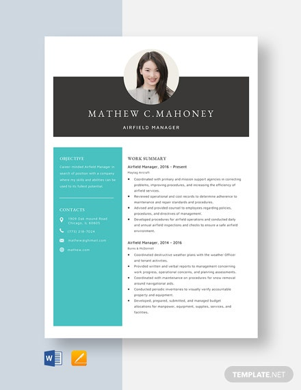 Airfield Manager Resume Template