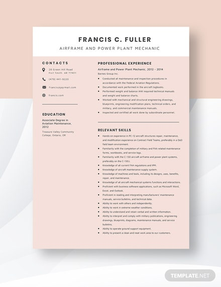 Airframe and Power Plant Mechanic Resume Template