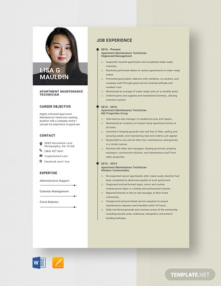 Apartment Maintenance Technician Resume Template