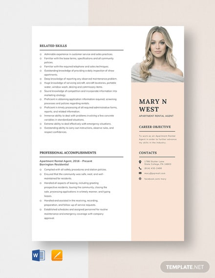 Apartment Rental Agent Resume