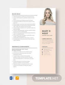 Apartment Rental Agent Resume Template