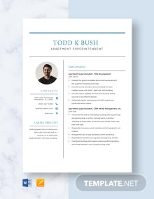 Apartment Superintendent Resume Template