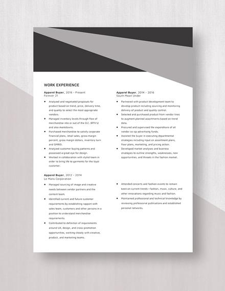 Apparel Buyer Resume Template