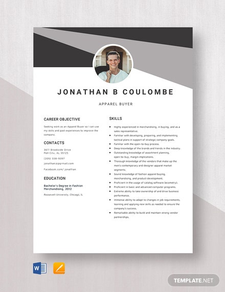 Apparel Buyer Resume Template
