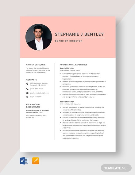 Board of Director Resume Template