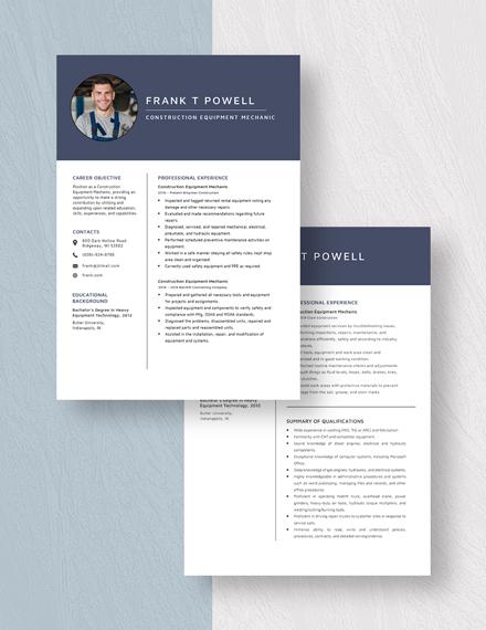 Construction Equipment Mechanic Resume Download