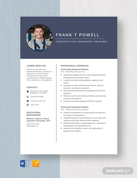 Construction Equipment Mechanic Resume Template