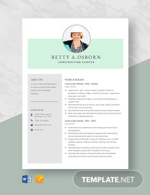 Construction Painter Resume Template