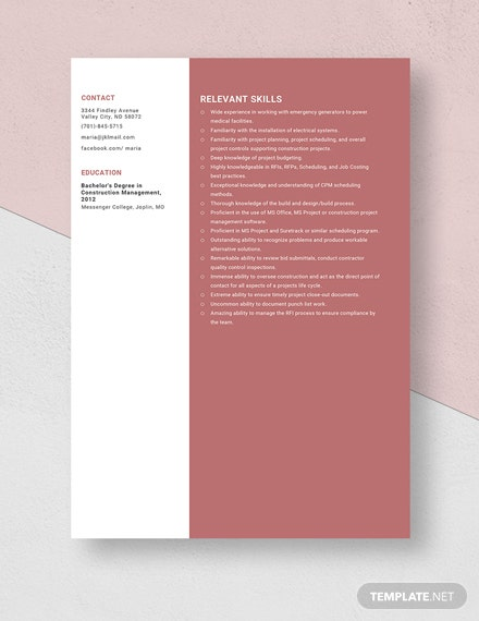 Construction Project Engineer Resume Template