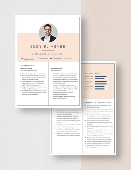 Digital Design Engineer Resume Download