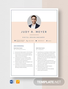 Digital Design Engineer Resume Template