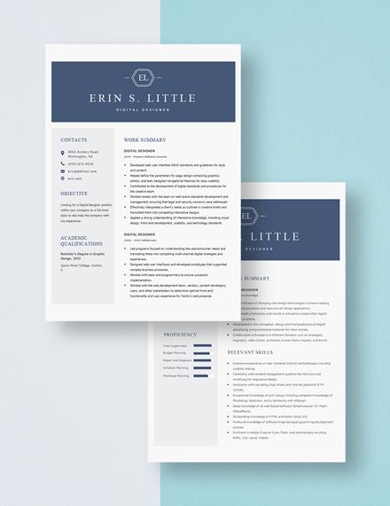 Digital Designer Resume Download