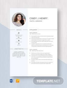 Digital Librarian Resume Template
