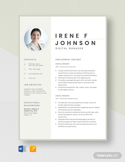 Digital Manager Resume Template