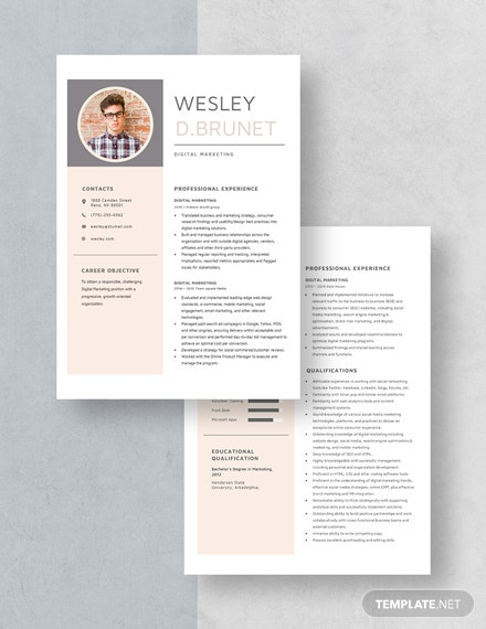 Digital Marketing Resume Download