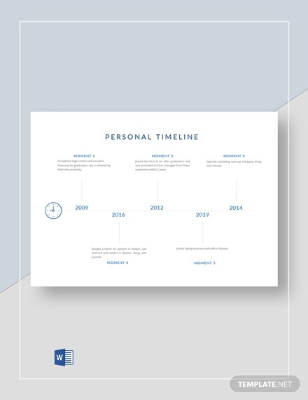 Sample Personal Timeline Template