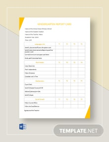 Kindergarten Report Card Template