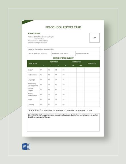 Pre School Report Card Template