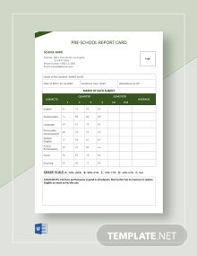 Pre School Report Card Template