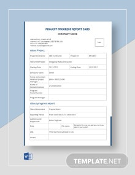 Project Progress Report Card Template