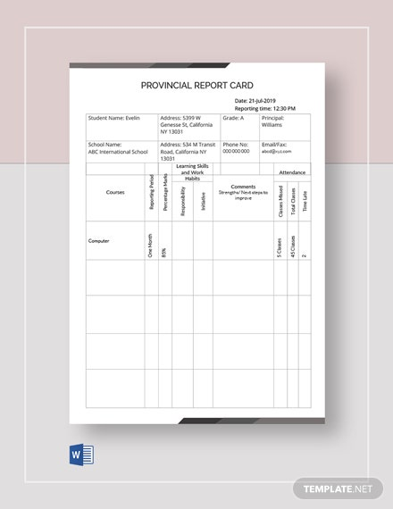 Provincial Report Card Template