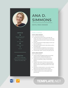 Digital Media Manager Resume Template